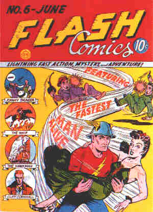 The Flash: A 1940 comic book cover. Artist: Harry Lampert.