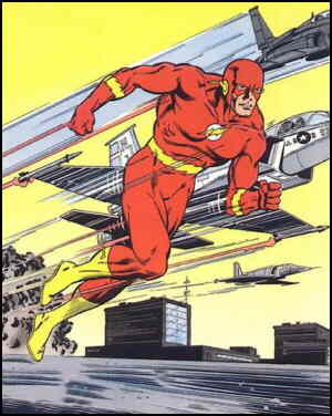 The Flash shows off his super speed. Artists:  Jackson Guice and Larry Mahlstedt.