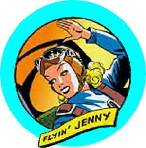 Jenny waves to the guys on the ground. Artist: Russell Keaton.