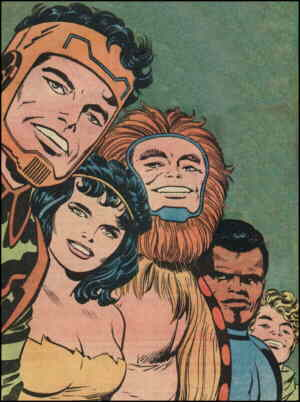 L-r: Mark Moonrider, Beautiful Dreamer, Big Bear, Vykin the Black, Serifan. Artist: Jack Kirby.