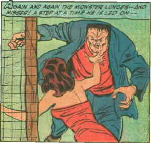Frankenstein's monster is lured into a trap. Artist: Dick Briefer.
