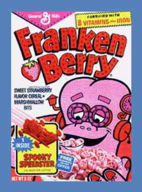 A typical Frankenberry cereal box.