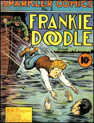 Frankie on a comic book cover. Artist: Ben Batsford.
