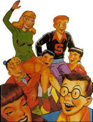 Freckles and his friends, from a comic book cover. Artist: Merrill Blosser.