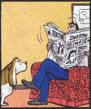 Fred Basset communicates eloquently. Artist: Alex Graham.
