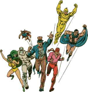 L-r: Phantom Lady, The Human Bomb, Doll Man, Uncle Sam, Firebrand, The Ray, The Black Condor. Artists: Alex Saviuk and Romeo Tanghal.