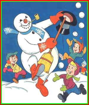 Frosty cavorts with his creators. From a comic book cover.