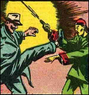 Fu Chang uses traditional martial arts against a modern weapon.