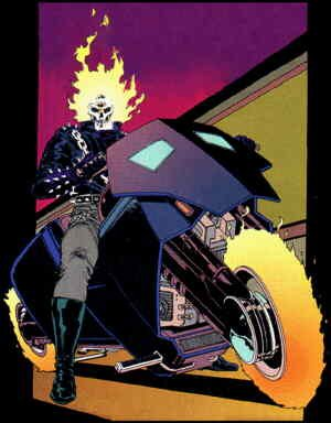 The Ghost Rider (from the cover of the first issue). Artist: Javier Saltares.
