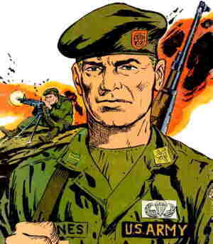 Tales of the Green Berets, from the cover of the first Dell comic book. Artist: Sam Glanzman