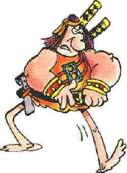 Groo, going off to do what Groo does best (cause destruction). Artist: Sergio Aragones.