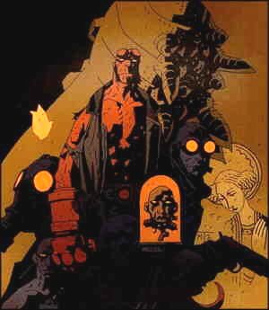 Hellboy in a typical setting. Artist: Mike Mignola.