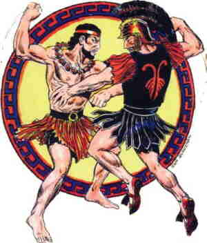 Herc takes on fellow-Olympian Ares. Artist: Sam Glanzman.
