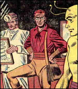 Bert sees a prospective client through the insurance-mandated medical exam. Artists: Carmine Infantino and Sy Barry.