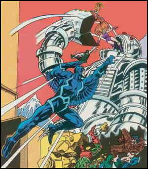 Black Bolt prominent, other Inhumans also in battle. Artists: Rich Buckler and Frank Giacoia.