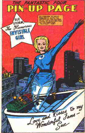 Invisible Woman (then known as Invisible 'Girl'), from a 1962 Fantastic Four pin-up page. Artist: Jack Kirby.