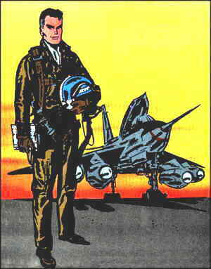 Johnny Hazard poses beside his aircraft. Artist: Frank Robbins.