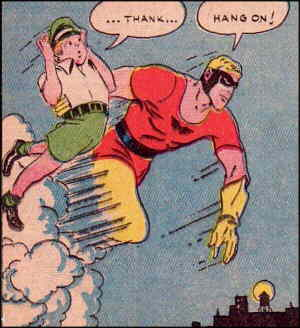 Johnny Quick in action. Artists: Mort Meskin and Cliff Young.