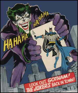 The Joker looms over Gotham City. Artist: Neal Adams.