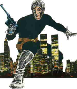 Sable symbolically bestrides the city. Artist: Mike Grell.