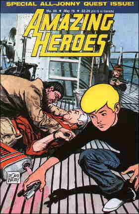 Jonny and Race on the cover of Amazing Heroes #95. Artist: Doug Wildey