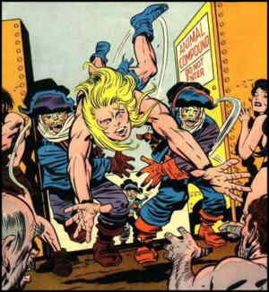 Kamandi gets rounded up with the strays. Artist: Jack Kirby.
