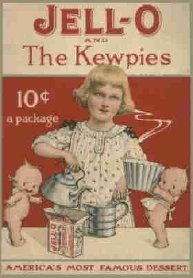 Kewpies promote a product. Artist: Rose O'Neill.
