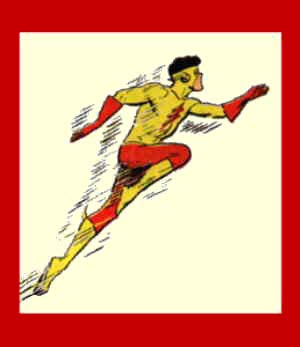Kid Flash shows off his super speed. Artist: Nick Cardy.