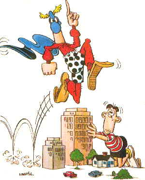 Captain Klutz takes more than one bound. Artist: Don Martin.