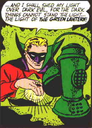 Green Lantern charges his ring. Artist: Martin Nodell.