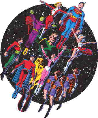Several members of The Legion of Super Heroes. Artist: Frank Miller.