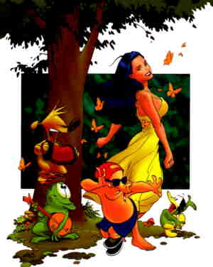 Brandy and friends, from the cover of the comic book's first issue. Artist: Frank Cho.
