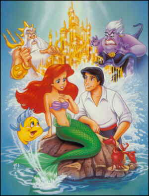 Ariel and major supporting characters, from a VHS cover.