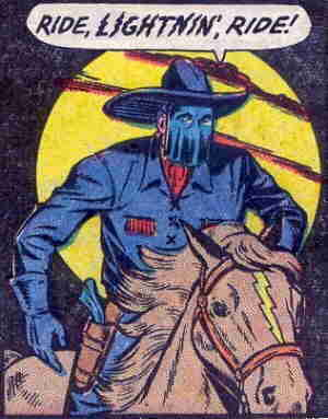 The Lone Rider astride his most trusted ally. Artist: Jack Kamen.