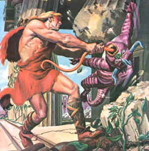 Samson grabs a typical foe in an atypical way. Artist: Morris Gollub.