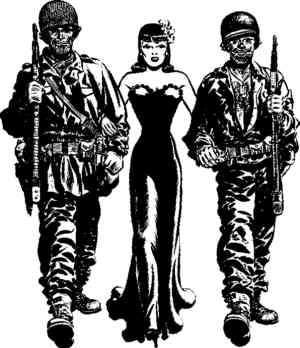 Miss Lace is the one in the middle. Artist: Milton Caniff.