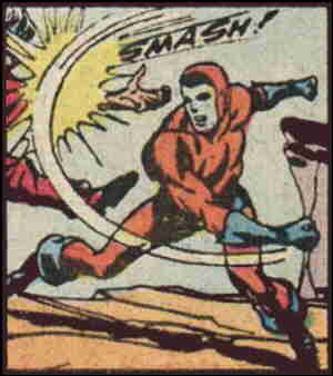 Manhunter socks it to a bad guy. Artists: Joe Simon and Jack Kirby.