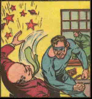 Manhunter socks it to a crook, while Thor chases another one out the window. Artist: Al Bryant.