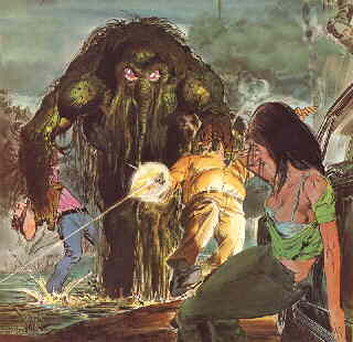 The Man-Thing wreaks havoc through the swamp. Artist: Neal Adams.