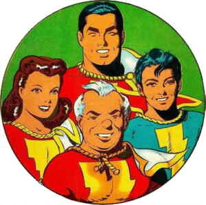 Clockwise from top: Captain Marvel, Captain Marvel Jr., Uncle Dudley Marvel, Mary Marvel. Artist: Pete Costanza.