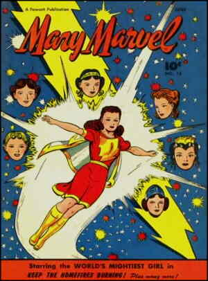 Mary Marvel, surrounded by the six sources of her power. Artist: Jack Binder.