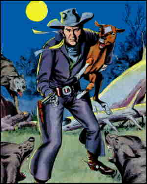Matt defends his herd on a Western Comics cover. Artists: Gil Kane and Jack Adler.
