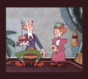 Maw & Paw, from the title card to one of their cartoons.