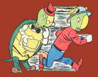McSnurtle makes a lightning-fast costume change. Artist: Martin Naydel.