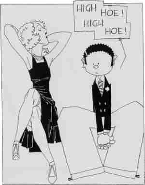 Margy with one of her fashionable suitors. Artist: John Held Jr.