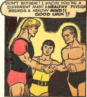 Mr. Muscles delivers a message to a former foe, on physical fitness. Artists: Charles Nicholas and Vince Alascia.