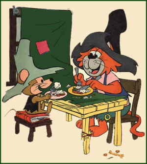 Punkin' Puss and Mushmouse enjoy a rare moment of accord, from the cover of the Gold Key comic book.