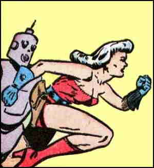 Mysta and her faithful robot. Artist: Maurice Whitman.