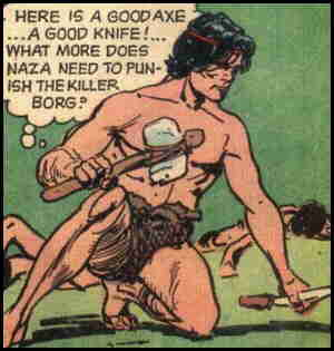 Naza prepares to go to war. Artist: Jack Sparling.