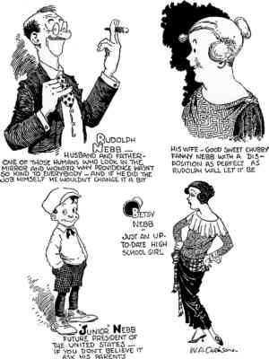 Introducing The Nebbs, from the first daily strip. Artist: W.A. Carlson.